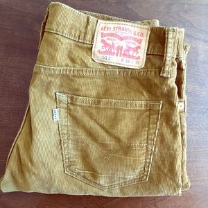 Levi's tan corduroy slim straight pants